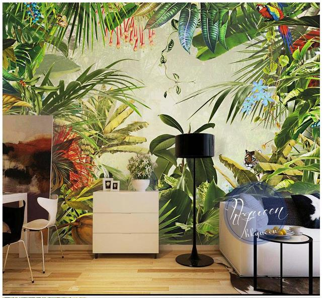 Custom 3d Photo Wallpaper 3d Wall Murals Wallpaper Tropical Rainforest  Plant Banana Background Wall Wallpaper Home