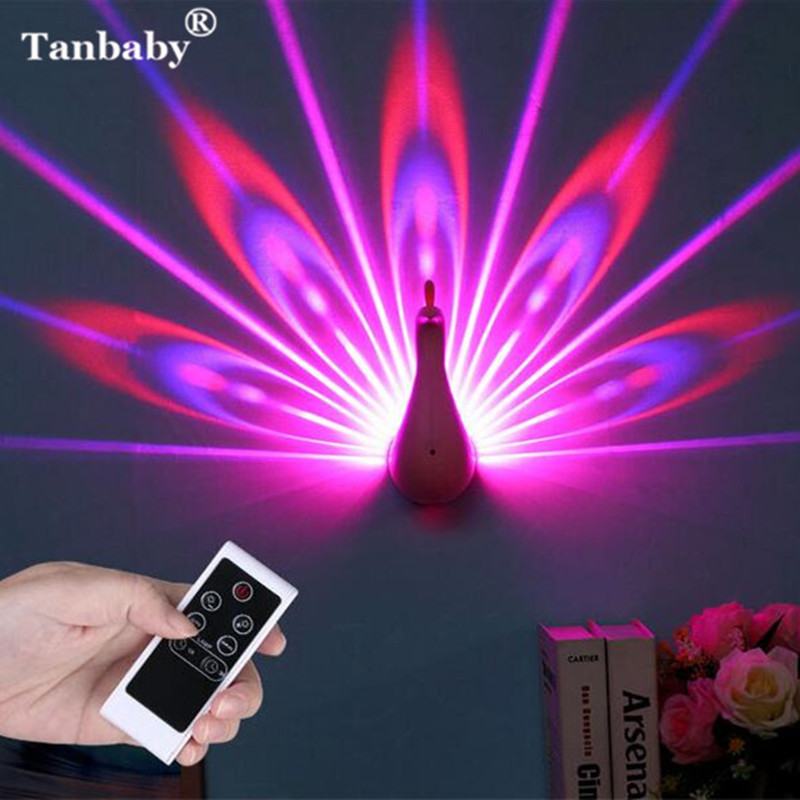 Tanbaby DC5V Novelty Animal Peafowl Led Night Light Color Changing Remote Control Wall Night Light for kids bedroom children color change remote control led animal shape night light
