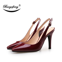 BaoYaFang Pointed Toe Patent Leather Womens Wedding shoes Black/Red/Blue ladies Med heel Pumps shoes woman Buckle baoyafang pointed toe patent leather womens wedding shoes black red blue ladies med heel pumps shoes woman buckle