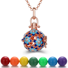 Mexico Chime Aromatherapy Necklace Flower 16MM Music Ball Vintage Pregnancy Necklace Aroma Essential Oil Diffuser Locket Pendant mexico chime music bell angel ball caller locket necklace flower pregnancy necklace perfume aromatherapy essential oil necklace
