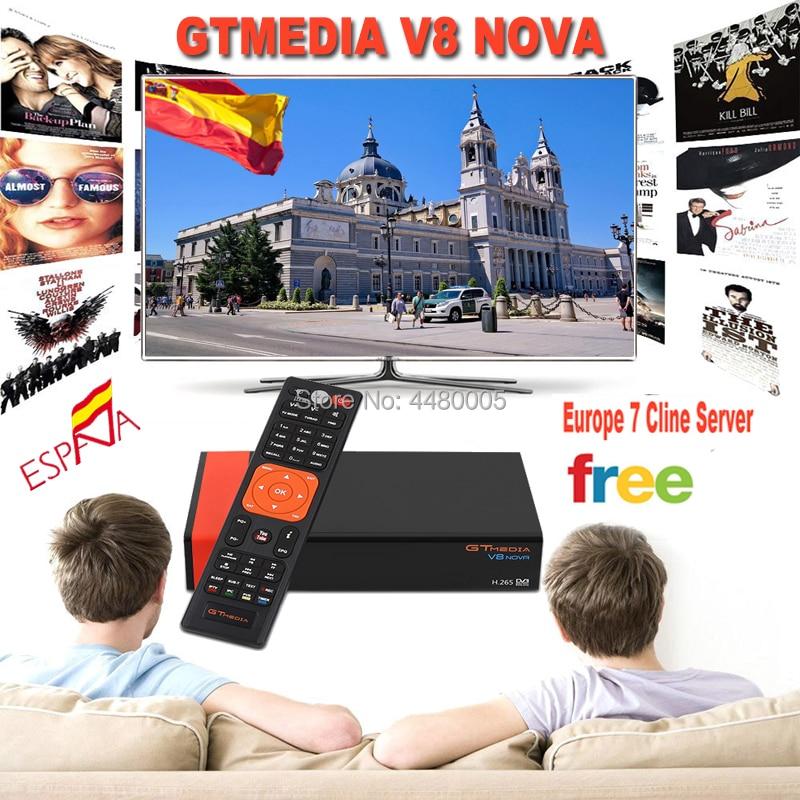Спутниковый ресивер GTMEDIA V8 Nova DVB-S2 Высокое разрешение freesat v8 ресивер для cсcam 1 год Испания