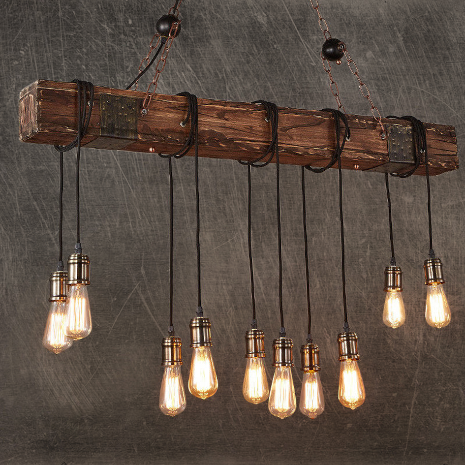 Rustic Color Wood Hanging Multi Pendant Edison Beam 10 Light E26/E27 Bulb 400W Painted Farmhouse Industrial Style Home Lighting