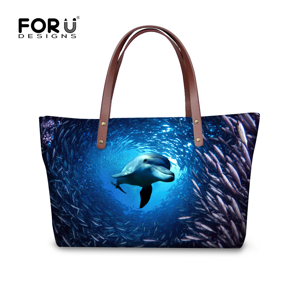 FORUDESIGNS 3D ocean dolphin shark printing women handbags large capacity lady shopping tote bags girls customized