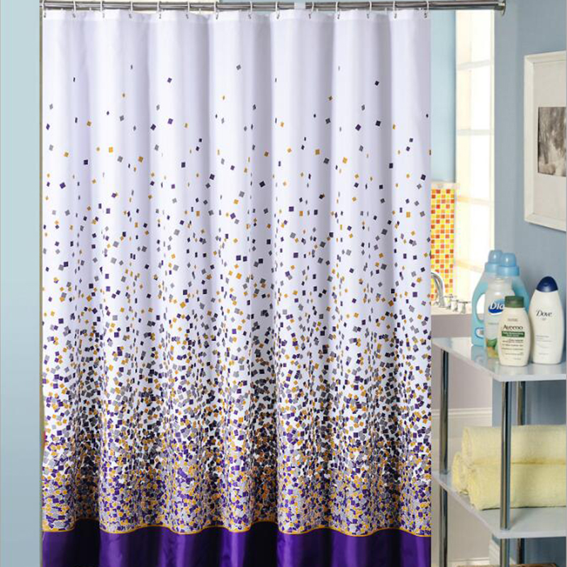 Shower Curtain Polyester Fabric Waterproof Bath Curtain with Hook for Bathroom
