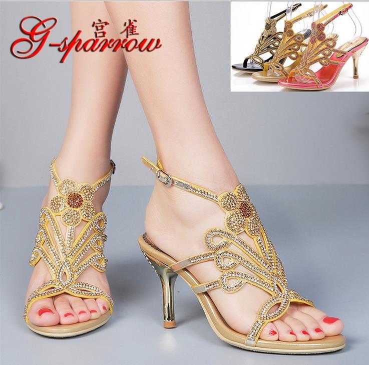 2016 summer women sexy pump,ladies cashmere Fine with high heel shoes Luxury set auger banquet evening dresses wedding shoes