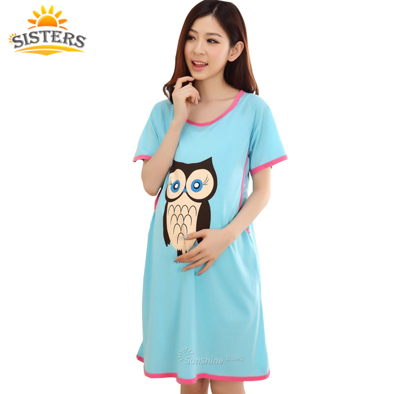 Cartoon Owl Pajama Short Sleeve Bröstmatning Nattdräkt Maternity Dress Nursing Clothes Sleepwear För Gravida Kvinnor Pyjamas