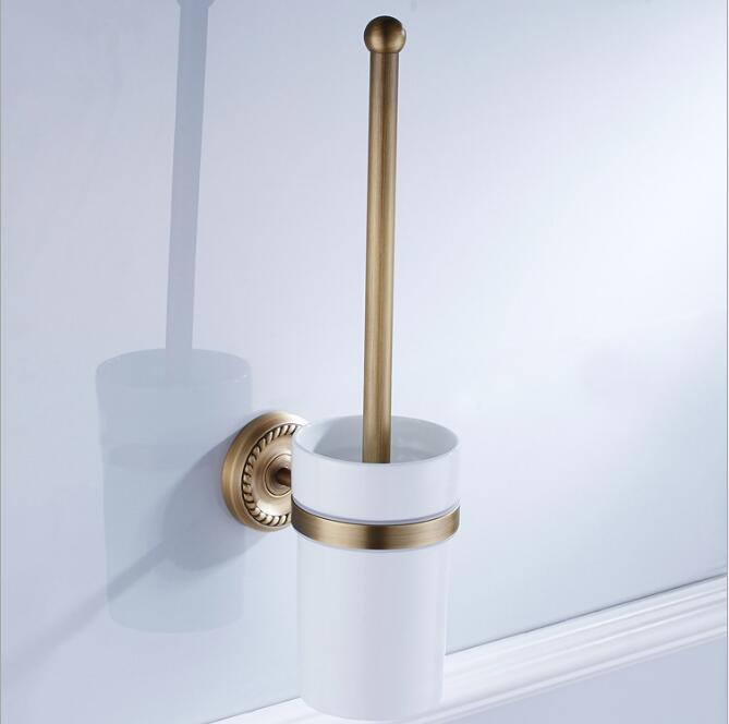 Wall Mounted Bathroom Accessories Brass Toilet Brush Holder,Antique Bronze Bathroom Toilet Brush Free Shipping solid brass antique brass bathroom toilet paper holder with brush bathroom accessories wall mounted
