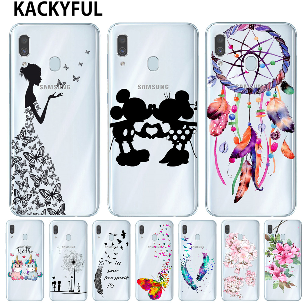 <font><b>Cartoon</b></font> Butterfly Pattern Soft TPU Silicone Phone Back <font><b>Case</b></font> Cover For Samsung Galaxy A10 A20 A30 A40 <font><b>A50</b></font> A7 A9 2018 Flower Coque image