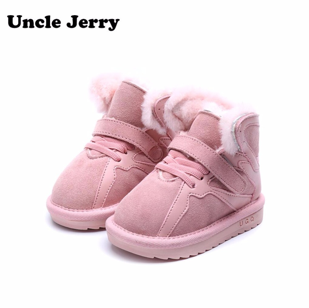 UncleJerry Winter Fashion boys girls snow boots child shoes warm plush soft bottom baby boots genuine leather snow boot for baby comfy kids winter fashion child girls snow boots shoes warm plush soft bottom baby girls boots leather winter snow boot for baby