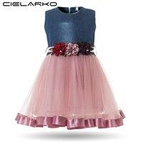 Cielarko Baby Girls Dress Infant Flower Dresses For Birthday Party Formal Denim Tulle Design Ball Gown