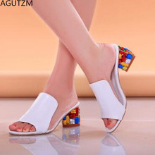AGUTZM 2018 brand large sizes 34-41 Colorful Rhinestone crystals Heels peep Toe Summer womens Shoes Woman Sandals slippers w53