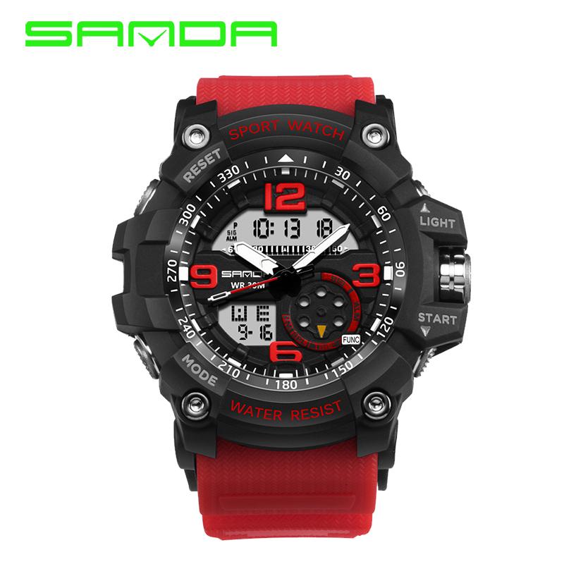 Prix pour SANDA marque hommes de montre de sport double affichage montre électronique à quartz montre analogique numérique LED étanche de natation montres