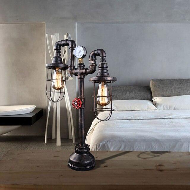 Vintage Style Loft Water Pipe Table Lamp Edison E27 Desk Iron Reading Lights