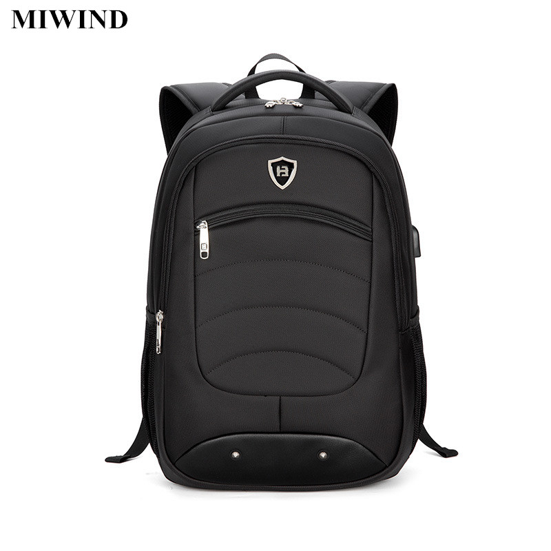 ФОТО MIWIND Mens Black Business Backpack Waterproof 15.6inch Laptop Backpack Computer Bag Anti-theft Travel Back Pack School Bags