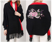 SC15 2017 Double Side Scarf Winter Luxury Cashmere Poncho Women Solid Female Long Sleeves Wrap Vintage Shawl With Back Floral