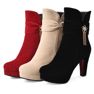 Image 4 - Kobiety dorywczo wysokiej jakości czarne buty na wysokim obcasie lady casual street buty z boczny zamek błyskawiczny lady fajne buty jesień i zima e2303