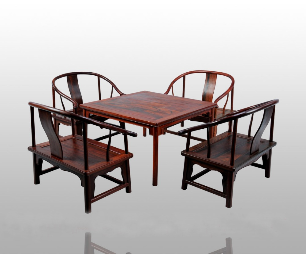 Square Tables with round legs and low Armchair 5-pieces sets Home Furniture 8 people Living/dining chair&desk set Solid Rosewood classical rosewood armchair backed china retro antique chair with handrails solid wood living dining room furniture factory set