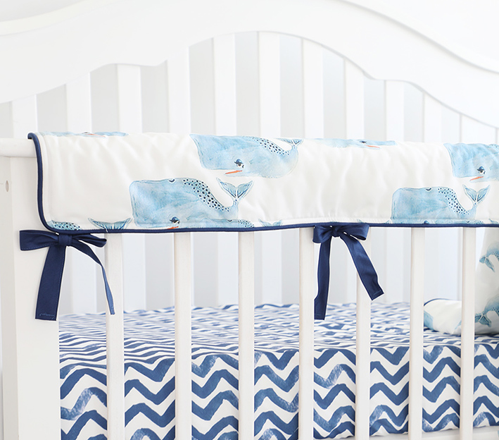Baby Crib Rail Cover Long Crib Rail Guard Baby Teething Cover Protector Wrap Nursery Bed Rails Cover  (Whale)
