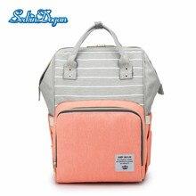 SeckinDogan Diaper Bag Fashion Striped Diaper Backpack Multifunction Waterproof Bags Large Capacity Outdoor Mummy Backpack