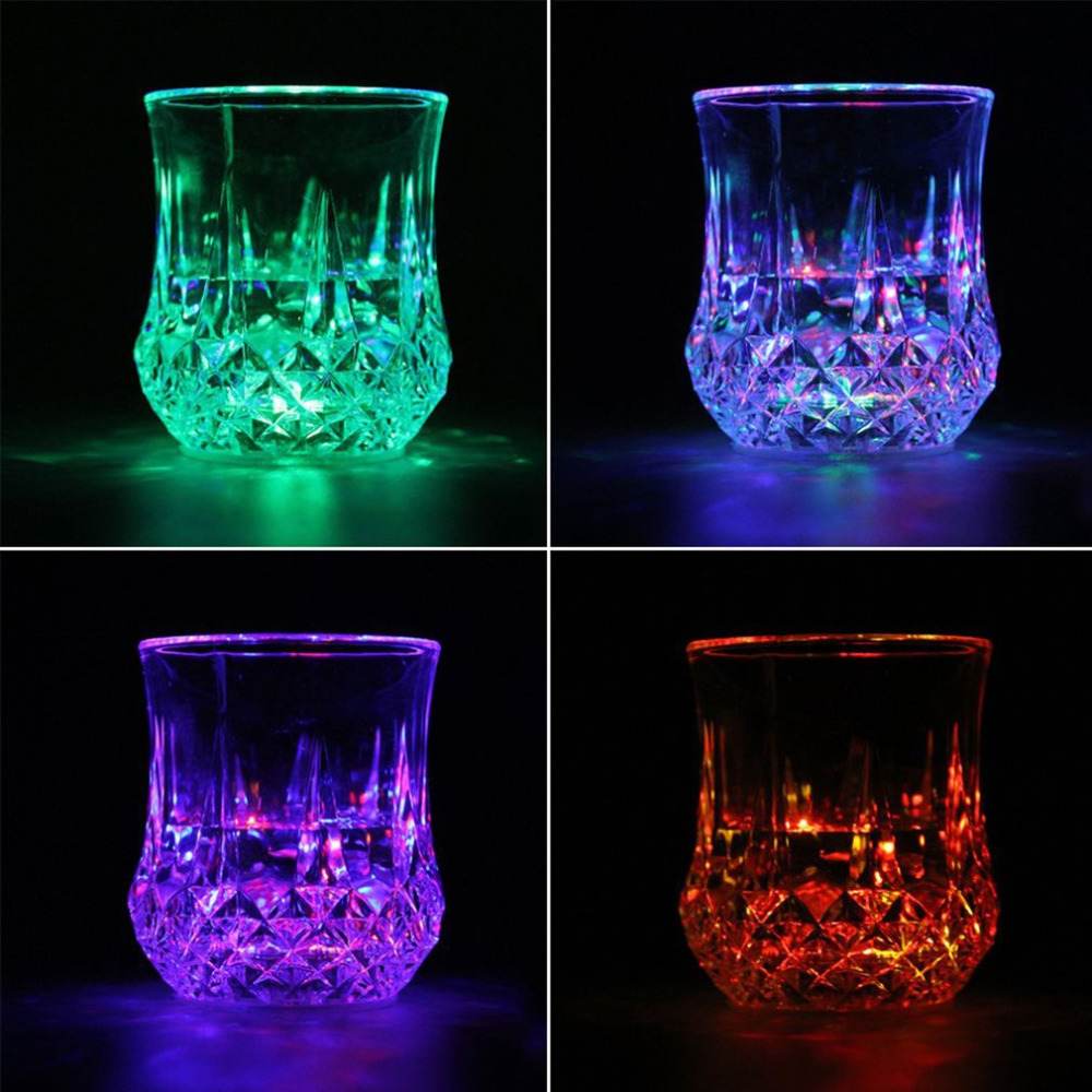 Dropshipping LED Flashing Glowing Water Liquid Activated Light-up Wine Beer Glass Cup Mug Luminous Party Bar Drink Cup Wholesale