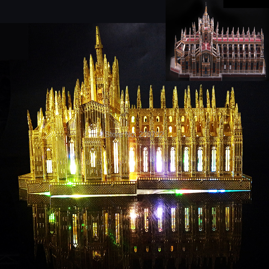 3D Metal Puzzle Milan Cathedral 255Pieces Duomo di Milano Building Model Kits DIY 3D Laser Cut Jigsaw Toys Kids and Adult picture kingdom 3d metal puzzle the dark portal building model pj 158 diy 3d laser cut jigsaw toys