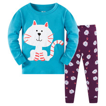 2019 New Spring Girls Pajamas Sets Long Sleeve O-neck Cartoon Baby Sleepwear 2 PCs Suits Casual Children Clothing Set