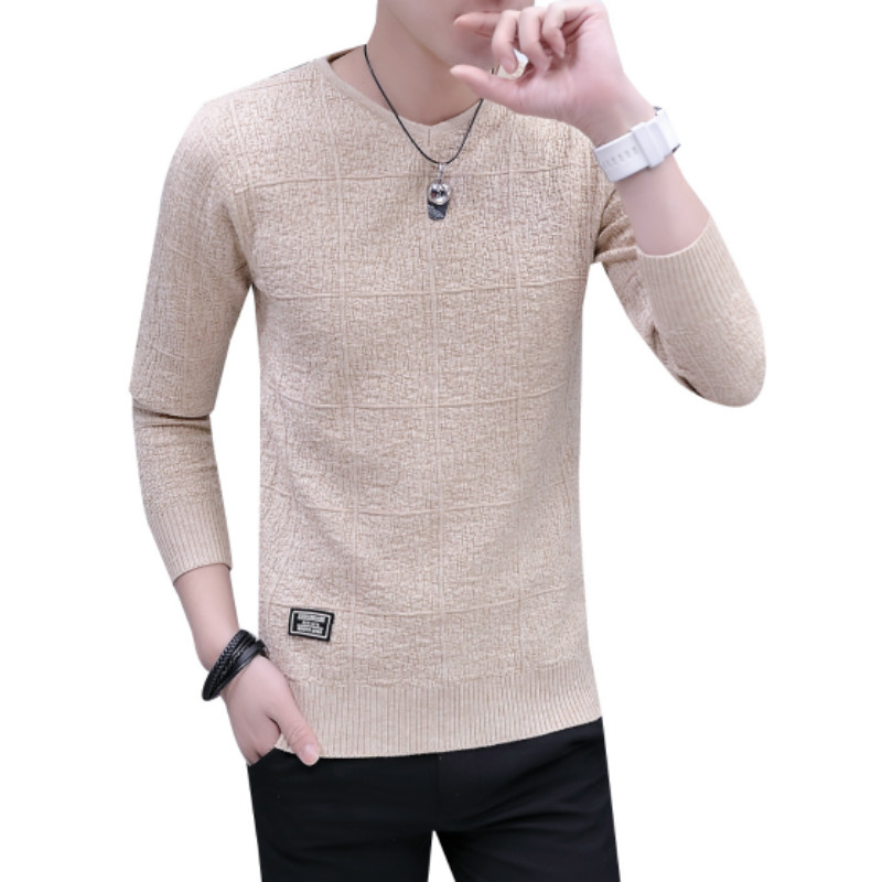 Men Sweater Pullovers V-Neck Knitted Long-Sleeve Thickening XXL Bottoming Keep-Warm