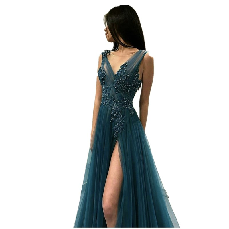 Turquois Deep V-Neck Sleeveless A-Line Side Slit Pearl Beaded Soft Tulle   Prom     Dresses   Court Train Party Gowns For   Prom