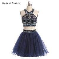 Высокое качество роскошные темно-синий линии 2 шт. pearl короткие Бальные платья 2017 с горный хрусталь Мини 8th класса Выпускной платье