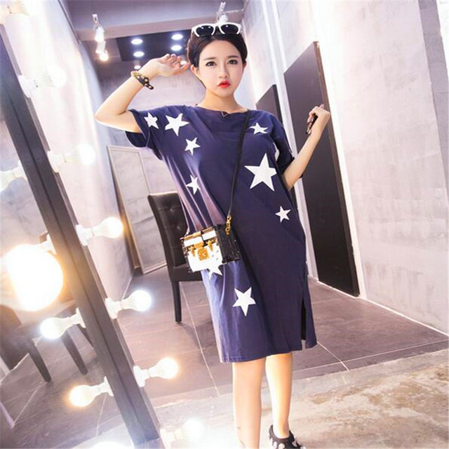 Spring And Summer Maternity Clothing Plus Size Women Racerback Dress The Stars Compose A Short-Sleeved Dress	TSP3093