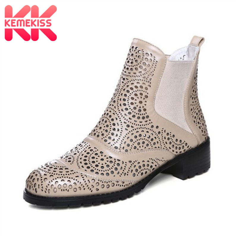 KemeKiss Women Genuine Leather Summer Boot Round Toe Low Heel Hollow Out Women Shoes Fashion Simple Club Footwear Size 34-41 kemekiss women slippers clip toe flat heel crystal shine women summer shoes fashion korean holidays footwear size 36 40
