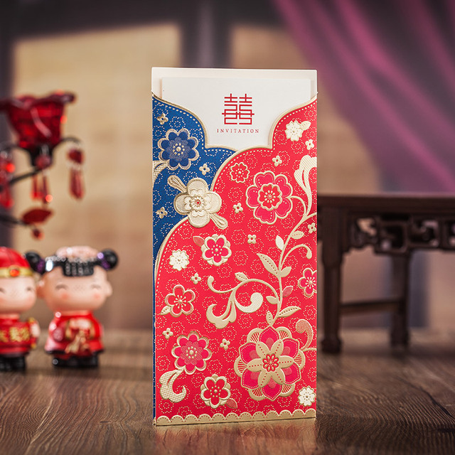 combination of red and blue invitation card classical generous of