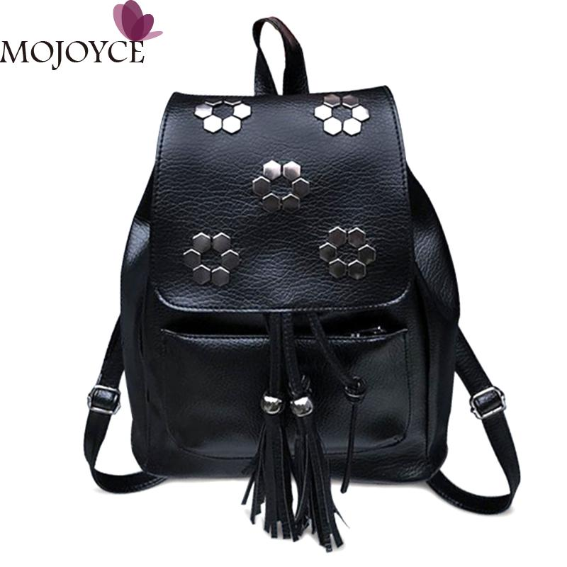 Fashion Small Women Backpacks Small Rivet Zipper PU Leather Student Backpack Preppy Style Backpack Girls Womens Back Pack