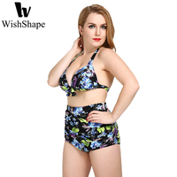 Sexy Floral Imprimir Push Up Bikinis Swimwear Preto Cintura Alta Atado Bra Bikini Set Swimsuit Beach Wear Plus Size 3XL 4XL 5XL