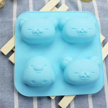 4 agujeros oso perezoso silicona torta molde jabón pudín de mapaches pequeño pingüino accesorios de jabón productos cortador de galletas IC994656