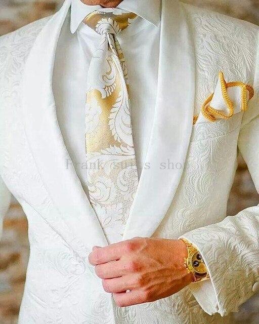 新しい到着メンズスーツアイボリー2018ジャカード新郎タキシードショールラペル男性スーツ結婚式スーツ(ジャケット+パンツ)