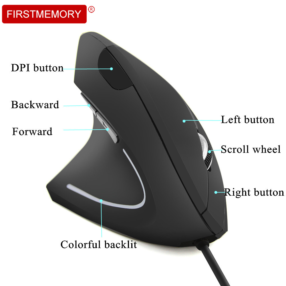 Wired Left Hand Vertical Mouse Ergonomic Gaming Mouse 1600DPI USB Optical Wrist Protect Mause With Mousepad Kit For PC Computer