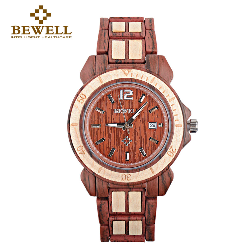 BEWELL Watch Clock Wood-Production Women's Brand 1054A Leisure Section Natural Special-Design
