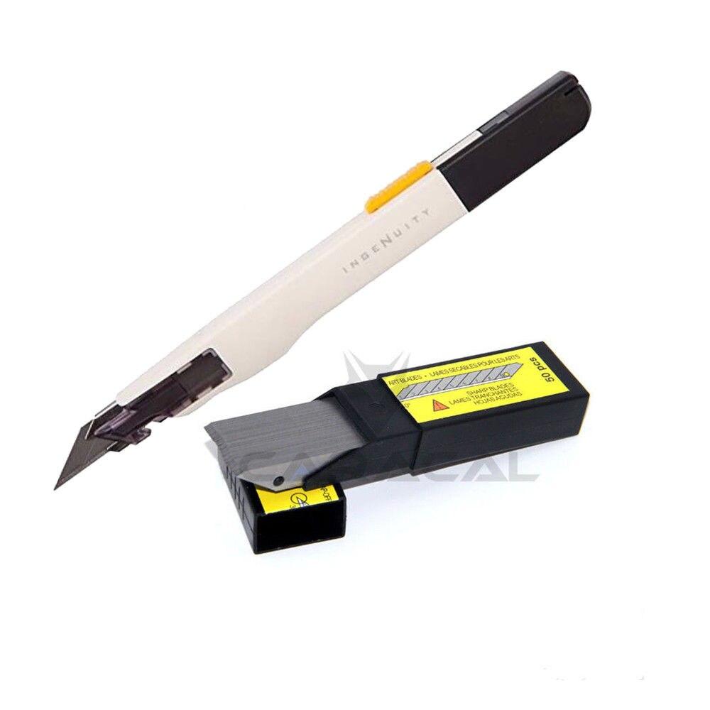 50 Lames + 1 PC SDI Procision Cutter De Sécurité Serrure 9mm Couteau En Acier Inoxydable De Voiture Outils D'emballage