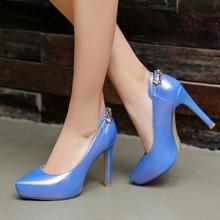 Free shipping fashion ladies weding casade shoes pointed toe neon blue pink sweet platform high heels women stiletto pumps C16