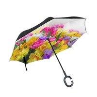 Colorful Flowers Printed Reverse Umbrella Double Layer Inverted Umbrella Self Stand Rain Sun Women Men High