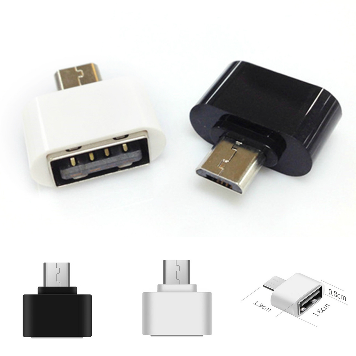 2pcs Portable Useful Micro USB Male To USB 2.0 Female Adapter OTG Converter For Android Tablet PC Cell Phone