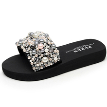 Beach Shoes Women 2018 Summer High Platform Sandals Wedge Flip Flops Slope Handmade Slippers Female Crystal Flower Shoes  Zapat