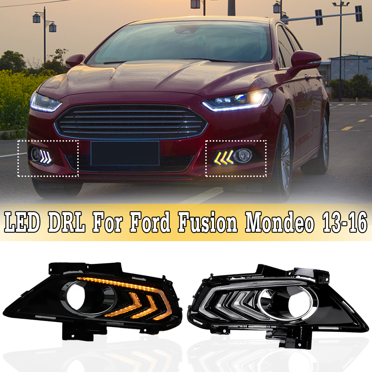 White and Amber LED DRL Daytime Running Light with Turn Signal Fog Lights Lamp For Ford For Fusion For Mondeo 2013-2016 tcart drl headlights with turn signal lights for ford mondeo 2013 2016 daytime running light auto led day driving fog lamp page 5