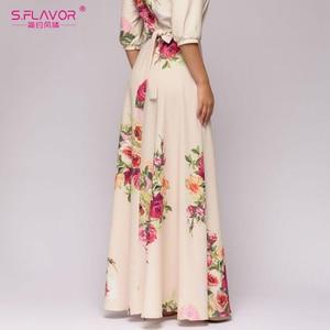 Image 5 - S.FLAVOR Floral Printed Women Long Dress Bohemian Style Autumn Maxi Vestidos De 2020 Winter Women Casual Dress