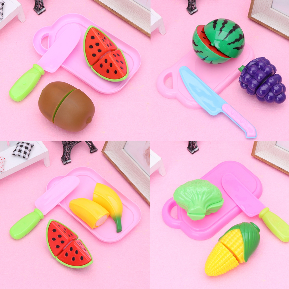 HBB 4Pcs Plastic Kitchen Fruit Vegetable Cutting Child Pretend Play Baby Kids Toy Set