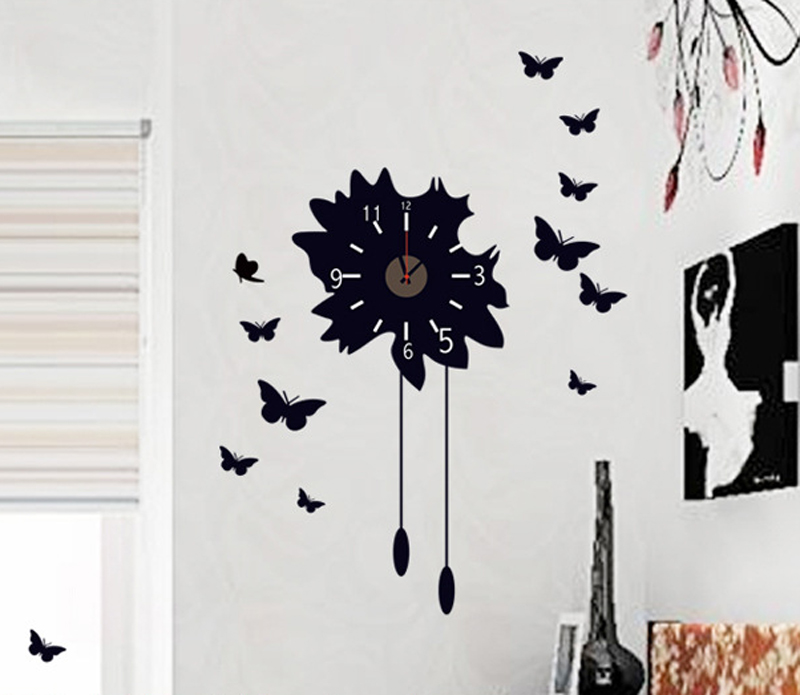 Butterfly Wall Sticker Bedroom Art Kids Background Wallpaper Decal  Decorative Clock Mural Removable Room Decor In Wall Stickers From Home U0026  Garden On ...