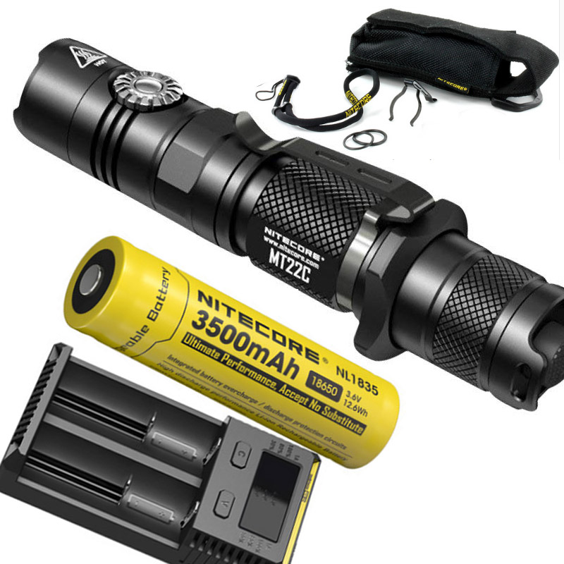 NITECORE MT22C +18650 rechargeable battery Rotary Switch 1000 LMs Flashlight Search Rescue Portable Diecast Torch Free Shipping sale nitecore mh12gt 1000 lumen led 18650 3400mah battery usb rechargeable flashlight search rescue portable torch free shipping