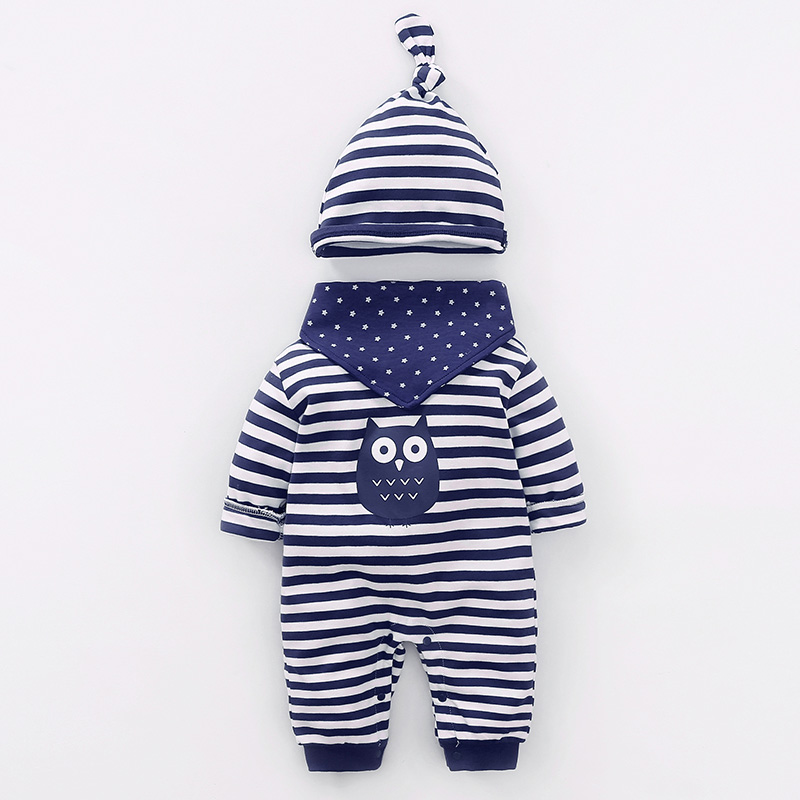 YiErYing Baby Suits Clothes Spring Autumn 3Pcs 100% Cotton Long Sleeves Cartoon Owl Hat+Bibs+  Romper   Newborn Jumpsuit Sets