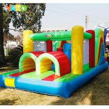 Opblaasbare Bounce Huis Hindernisbaan Dubbele Glijbanen 6.4x2.8x2.5m Opblaasbare Trampoline Grappige Springkasteel Kerstcadeau